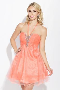 Style E40043 Jolene Orange Size 12 Coral Pageant Cocktail Dress on Queenly
