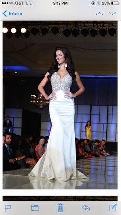 Sherri Hill White Size 4 Pageant Custom Silk Straight Dress on Queenly