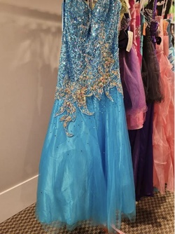 Style 9586 Blush Prom Blue Size 10 Tall Height A-line Dress on Queenly