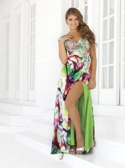 Style 9360 Blush Prom Multicolor Size 10 Side slit Dress on Queenly