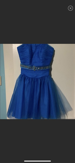 Mori Lee Blue Size 4 Belt Tulle A-line Dress on Queenly