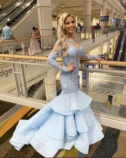 Sherri Hill Light Blue Size 4 Lace Mermaid Dress on Queenly