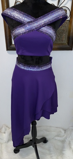 Custom Purple Size 2 Two Piece Sequin Side slit Dress on Queenly