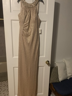 Xscape Gold Size 12 Halter Plus Size Straight Dress on Queenly