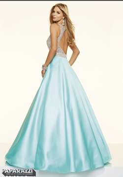 Mori Lee Blue Size 8 Turquoise Short Height A-line Dress on Queenly
