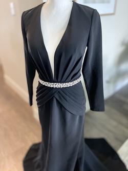 Jovani Black Size 4 Belt Custom A-line Dress on Queenly