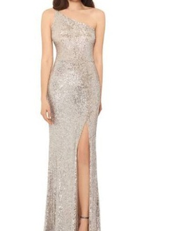 Silver Size 12 Side slit Dress on Queenly