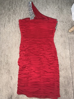 Scala Red Size 2 Sorority Formal Sequin One Shoulder Cocktail Dress on Queenly