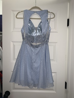 Rachel Allan Blue Size 2 Lace Shiny Sheer Cocktail Dress on Queenly