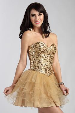 Style 225610 Jolene Gold Size 10 Flare Sweetheart Tall Height Cocktail Dress on Queenly