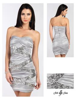 Style 53X3592 Jolene Silver Size 4 Mini Tall Height Cocktail Dress on Queenly