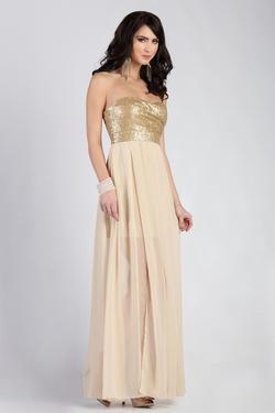 Style 0679331 Jolene Gold Size 4 Prom Straight Dress on Queenly