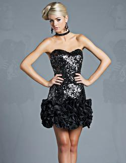 Style 12064 Jolene Black Size 6 Homecoming Mini Tall Height Cocktail Dress on Queenly
