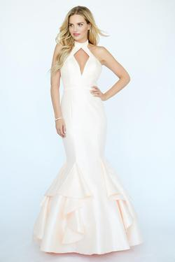 Style 19083 Jolene White Size 4 Tall Height Halter Mermaid Dress on Queenly