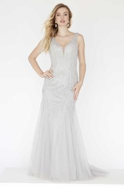 Style 18065 Jolene Silver Size 10 Pageant Grey Mermaid Dress on Queenly