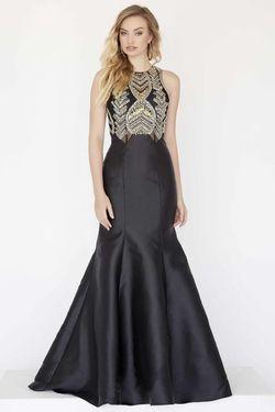Style 18032 Jolene Black Size 8 Gold Silk Mermaid Dress on Queenly