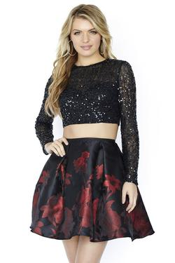 Style 17516 Jolene Black Size 12 Flare Homecoming Cocktail Dress on Queenly