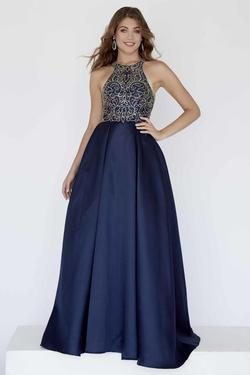 Style 18052 Jolene Blue Size 6 Tall Height Halter Ball gown on Queenly