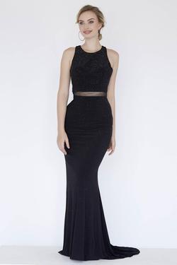 Style 18023 Jolene Black Size 8 Sorority Formal Tall Height Wedding Guest Mermaid Dress on Queenly