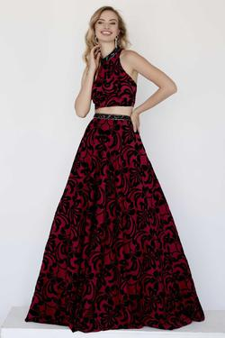 Style 18072 Jolene Red Size 8 Halter Tall Height Ball gown on Queenly