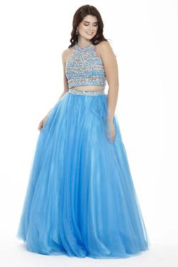 Style 17090 Jolene Blue Size 12 Quinceanera Halter Tall Height Ball gown on Queenly
