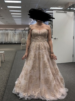 David's Bridal Pink Size 10 Gold Ball gown on Queenly