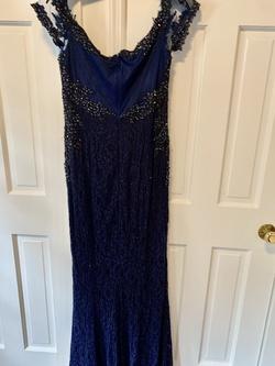 Rina de Montella Blue Size 12 Medium Height Train Straight Dress on Queenly