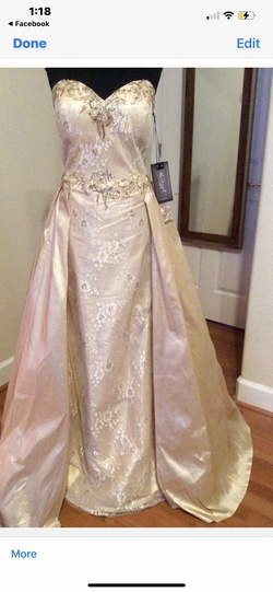 MacDuggal Gold Size 16 Prom Pageant A-line Dress on Queenly