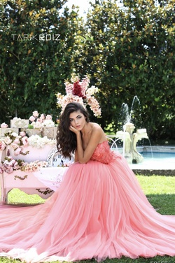Tarik Ediz Pink Size 0 Corset Tall Height Ball gown on Queenly