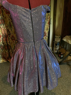 Blondie Nites Multicolor Size 6 Royal Blue Jersey Silver A-line Dress on Queenly