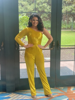 Ashley Lauren Yellow Size 0 Pageant Jumpsuit Dress on Queenly