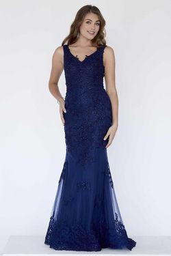 Style 18108 Jolene Blue Size 22 Sorority Formal Tall Height Wedding Guest Mermaid Dress on Queenly