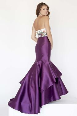 Style 18079 Jolene Purple Size 14 Floral Ivory Tall Height Mermaid Dress on Queenly