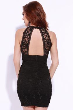 Style Q7BWE234 Jolene Black Size 6 Halter Sorority Formal Tall Height Cocktail Dress on Queenly