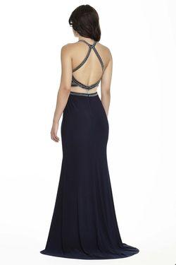 Style 17140 Jolene Blue Size 6 Halter Silver Sorority Formal Tall Height Mermaid Dress on Queenly