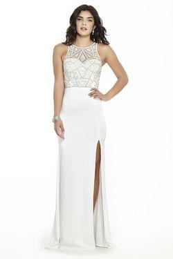 Style 17136 Jolene White Size 10 Sorority Formal Sheer Tall Height Side slit Dress on Queenly