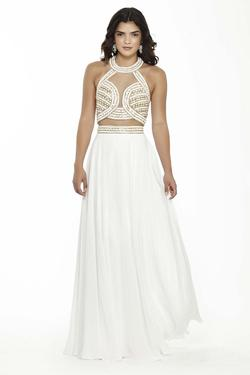 Style 17092 Jolene White Size 10 Gold Pageant Mermaid Dress on Queenly