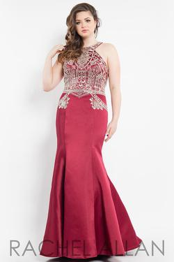 Style 7808 Rachel Allan Red Size 22 Tall Height Halter Mermaid Dress on Queenly