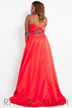 Style 7806 Rachel Allan Red Size 14 Plus Size Prom Tall Height Ball gown on Queenly