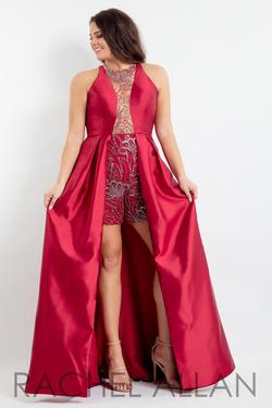Style 6336 Rachel Allan Red Size 16 Fun Fashion Tall Height Overskirt Jumpsuit Dress on Queenly