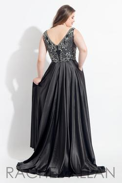 Style 6329 Rachel Allan Black Size 14 Prom Pageant Jersey Tall Height A-line Dress on Queenly