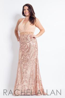 Style 6322 Rachel Allan Nude Size 14 Prom Tall Height Halter Mermaid Dress on Queenly