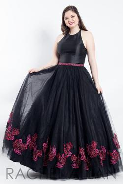 Style 6317 Rachel Allan Black Size 14 Prom Floral Tall Height Halter A-line Dress on Queenly