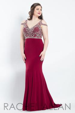 Style 6308 Rachel Allan Red Size 18 Pageant Tall Height Mermaid Dress on Queenly