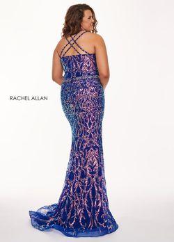 Style 6687 Rachel Allan Purple Size 14 Plus Size Prom Tall Height Halter Mermaid Dress on Queenly