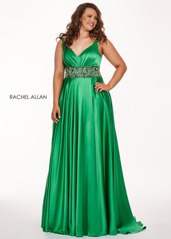 Style 6681 Rachel Allan Green Size 14 Prom Jersey Tall Height Side slit Dress on Queenly