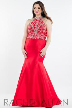 Style 7833 Rachel Allan Red Size 14 Plus Size Prom Tall Height Halter Mermaid Dress on Queenly