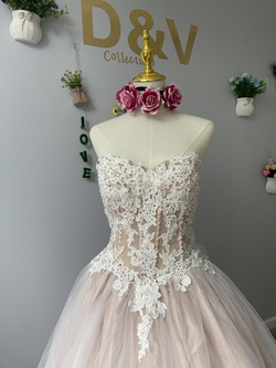 D&V Nude Size 10 Embroidery Wedding A-line Dress on Queenly