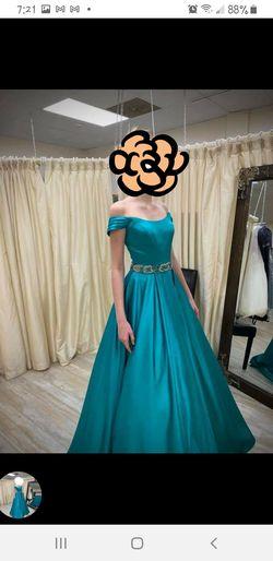 Sherri Hill Blue Size 0 Train Fun Fashion Teal Ball gown on Queenly