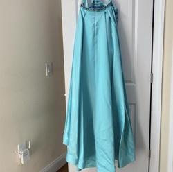 Style 7074 Rachel Allan Blue Size 6 Halter Jumpsuit Dress on Queenly